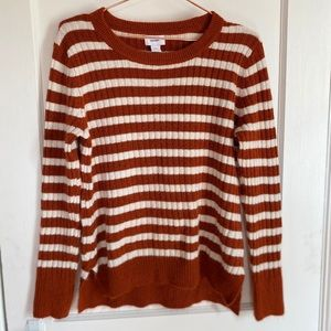 Stripes sweater white and rust